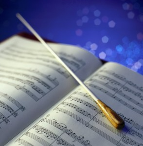 Conductor's Baton and Sheet Music